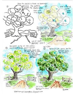 Adron's Art Lesson Plans: Printable Watercolor Painting Worksheet Green Tree.