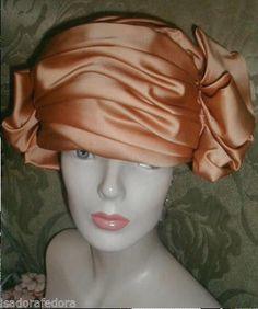STUNNING Flapper Style DIOR Amber Peach Satin Cloche Hat,PARIS,Double Rosette