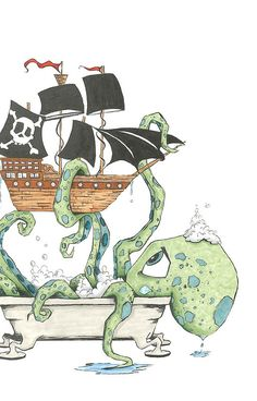 'Kraken in the Tub' Canvas Print by Chad Nelson Art And Illustration, Octopus Illustration, Lapin Art, Octopus Art, Kraken Octopus, Desenho Tattoo, Canvas Prints, Art Prints, Cute Art