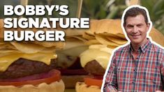 """This is the """"house"""" burger at Bobby's Burger Palace. It's a basic burger (with onion, tomato, romaine lettuce and horseradish mustard) but with CRUNCH, comin. Bobby Flay Burger Recipe, Bobby Flay Recipes, Best Burger Recipe, Burger Recipes, Grilling Recipes, Bobby Burgers, Beef Burgers, Burger Buns, Burger Palace"""