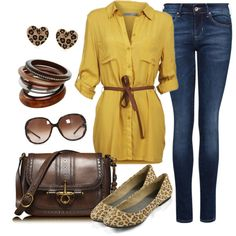 """Mustard & Leopard"" by charleneanais on Polyvore"
