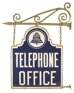Bell System Telephone Office Porcelain Sign, die cut, two sided in original bracket frame. on Oct 2009 Vintage Phones, Vintage Telephone, Radios, Schoolhouse Electric, Phone Companies, Porcelain Signs, Antique Show, Old Phone, Vintage Scrapbook