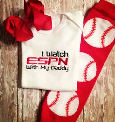 I watch ESPN with my Daddy Onesie, Baseball Leggings, and Bow Set.