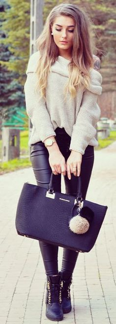 Styleev Ivory One Shoulder Sweater Fall Street Style Inspo #Fashionistas