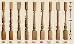 Stuart Pattern Turned Carved Balusters and Newel Post and Finials, Versailles Pattern Turned Carved Balusters and Newel Post and Finials Wood Balusters, Wood Railing, Stair Railing Design, Stair Handrail, Architectural Features, Architectural Elements, Wooden Bifold Doors, Versailles Pattern, Newel Posts