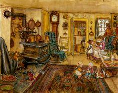 1830s Kitchen Print - Tasha Tudor and Family