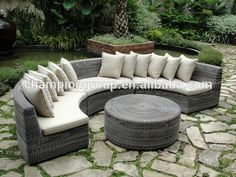 Source 6PCS Curved Wicker Sectional Sofa Set - Outdoor Furniture Sets on m.alibaba.com