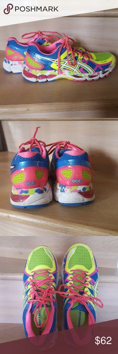 Asics GEL Kayano 21 -multi color size 9 Ran 2 5K races on these and upgraded to newer version.. excellent condition. No tears, rips, damage, original insoles. No box. Asics Shoes Sneakers
