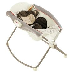 -Fisher-Price Deluxe Newborn Rock 'n Play Sleeper, SnugaMonkey. - They have to learn to soothe themselves while they are laying in it, and learn that they are not allowed to get out of it. There is also a picture of a monkey on it, and it is soft. - $74.99