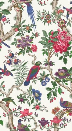 Buy Fontainebleau in Fuchsia Pink & Emerald Green, a feature wallpaper from Cole and Son, featured in the Folie collection from Fashion Wallpaper.