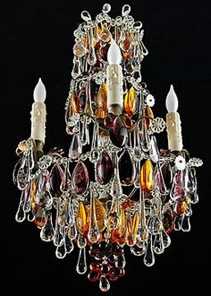 Rare antique french chandelier with colored crystals