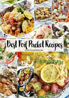 Best Foil Packet Recipes is part of Outdoor Grilling recipes - Best Foil Packet Recipes that are perfect for outdoor grilling, camping or even baking in the oven on cold winter days They make for some scrumptious meals & super easy clean up too Camping Desserts, Campfire Dinner Recipes, Vegetarian Camping Recipes, Grilling Recipes, Cooking Recipes, Healthy Recipes, Camping Cooking, Healthy Meals, Camping Foods