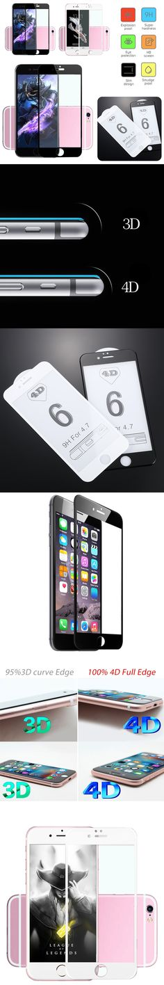 POPSPARK 9H Hardness 4D Full Cover Tempered Glass For iPhone 6 6S Phone Full Coverage Screen Protector Protective Film Guard