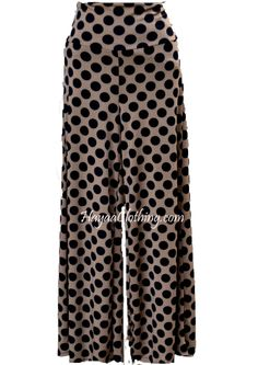 Cute Polka Dots Wide-leg palazzo Pants in Black Taupe Wide Leg Palazzo Pants, Wide Leg Pants, Polka Dots, Taupe, Pajama Pants, Pajamas, Legs, Black, Clothes