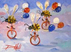 Biker Bee's Fourth of July Parade, painting by artist Delilah Smith