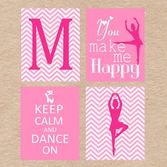 Ballerina Dance Wall Art DIY Printable Set in chevron and pink by Decorable Designs. Perfect for any little girl's room!