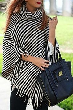 Stylish Cowl Neck 3/4 Sleeve Striped Fringed Women's Poncho Blouse