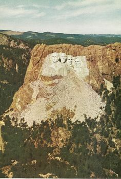 An #aerial view of #MountRushmore National Monument.  In total is #cost $989,992.32 to construct, which was a lot more money back in 1941 when it was finished. #DestinationWest http://destinationwesttours.com