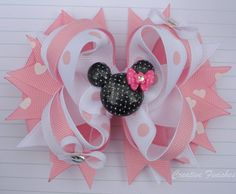 Minnie Bow Pink and White Mouse Hair Bow by CreativeFinishesBows, $9.00 Lindsey...... This is for you!
