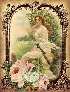 Vintage farmhouse Prairie Girl  pink Roses Large digital download  Printable BUY…