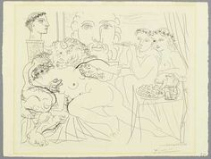 Artwork by Pablo Picasso, Minotaure caressant une femme, Made of Etching and drypoint