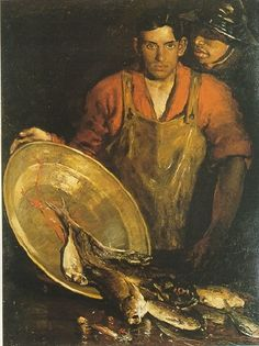 """Charles Webster Hawthorne (1872 - 1930) -Fish Mongers  """" You have enough today, there is something else we do later"""""""