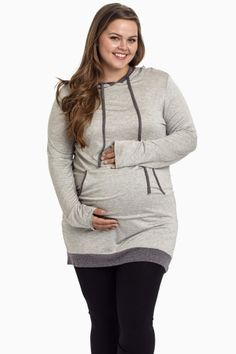 Grey Hooded Plus Size Maternity Tunic