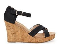 Black Canvas Cork Women's Strappy Wedges