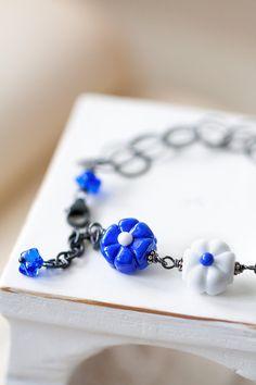 OOAK Blue and White Lampwork Flower Bracelet, Mother's Day Gift, BFF Birthday Gift for Her Mom Sister Aunt under 60 dollars