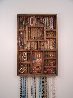 Jewelry Organizer, Earring Holder, Handmade Wood Wall Art. $118.00, via Etsy.