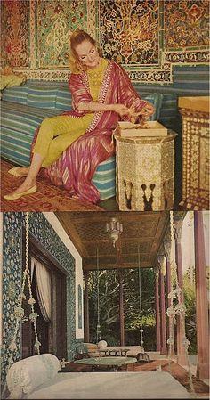 Doris Duke's Shangri-La ~ railroaded strips on armless sofa