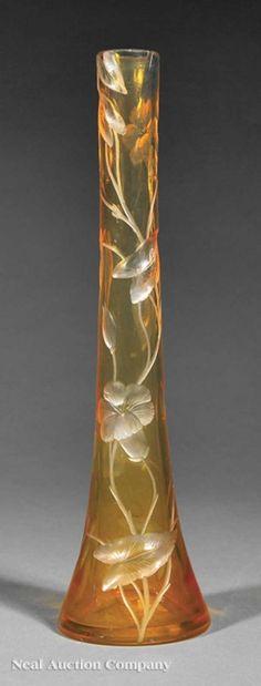 Art Nouveau Moser Glass Vase : Lot 789