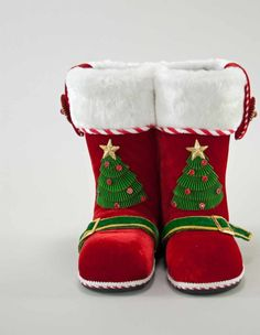 """Katherine's Collection Night Before Christmas Collection Two 12"""" Santa Tabletop Boots Free Ship"""