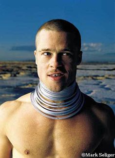 Brad Pitt with a shaved head. mmmm. photographed by Mark Seliger