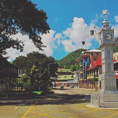 """This clock tower in the middle of Victoria, the capital of Mahe, #Seychelles is known as """"Little Ben"""" as it is modeled on BigBen in London."""