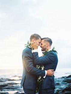 Adam and Scott's Romantic Lahaina Beach Wedding | Photography: Wendy Laurel - www.wendylaurel.com Read More on SMP: http://www.stylemepretty.com/2015/09/02/romantic-lahaina-beach-wedding/