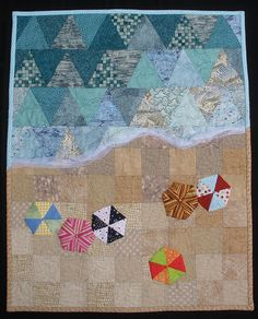 Patchwork background with applique - At The Beach
