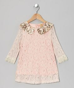Take a look at this Pink Lace Sequin Collar Shift Dress on #zulily!