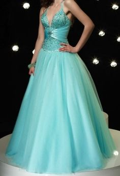 Teal and Blue Prom Gown