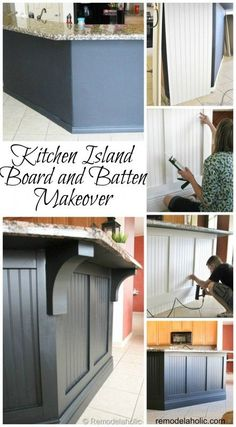 Kitchen island makeover with board and batten!  @Remodleaholic