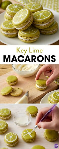 Filled with a zesty key lime buttercream, these Key Lime Macarons are a little bite of summer that pairs well with a lovely summer margarita. Also great for BBQ's and picnics, these macarons are sure to be a hit at your next summer celebration. Want to make lemon or orange slices, too? Use our wide variety of icing colors to make citrus cookies that look and taste great.