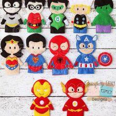 Complete set heroes Finger Puppet Set Embroidery Design