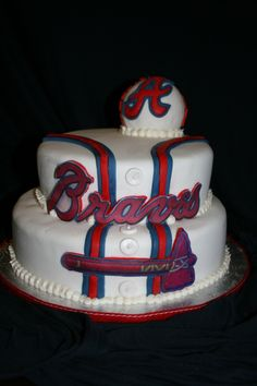 Atlanta Braves Cake I Want this as Nate's grooms cake! Fancy Cakes, Cute Cakes, Atlanta Braves Cake, Cake Cookies, Cupcake Cakes, Brave Cakes, Just In Case, Just For You, Georgie