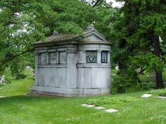 mausoleum  with stained glass windows Spring Grove Cemetery Cincinnati, Ohio