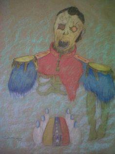 Exumacion de Bolivar Pastel sobre papel 50x40 cm