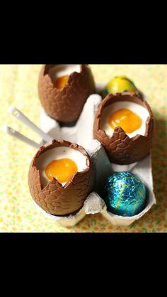 Mango pana cotta in easter chocolate eggs