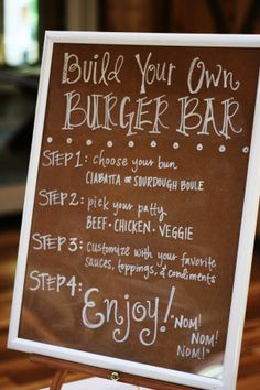 Build your own burger bar for a casual wedding- midnight