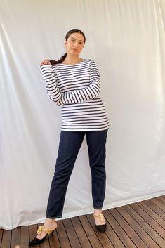 Minquiers Modern Breton Striped Top Breton Top, Saint James, Size Model, Blue And White, Stripes, Modern, How To Wear, Cotton, Pants