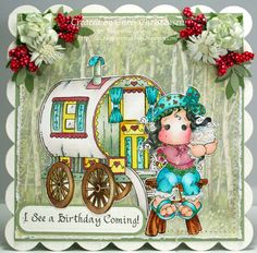 Happy Sunday! Here is a card featuring Gypsy Tilda and her wagon. I hope you like it. Info is on my blog - http://ascrappersmusings.blogspot.com/2014/08/magnolia-gypsy-tilda-and-her-wagon.html