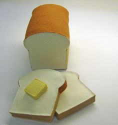 Wool Felt Play Food  Bread Slices with Butter Pat  Waldorf